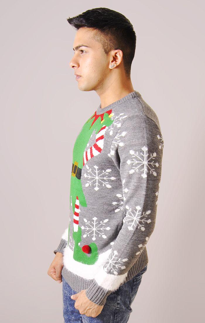 Mens Novelty Elf Christmas Jumper